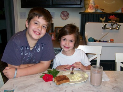 Eggs, toast, & chocolate milk with a rose!
