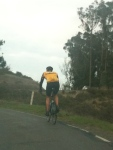 Of course we had to follow a cyclist back down the mountain...